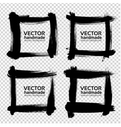 Square frames from thick black smears isolated on vector