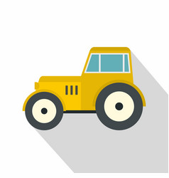 yellow tractor icon flat style vector image vector image