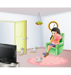 A young girl inside the room with her pets vector image vector image
