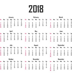 Calendar for 2018 Week starts on Sunday vector image vector image