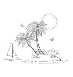 Island with palm and ship contours vector image vector image