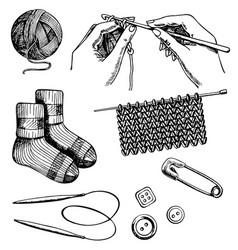 knitting and crochet set ink hand drawn vector image vector image