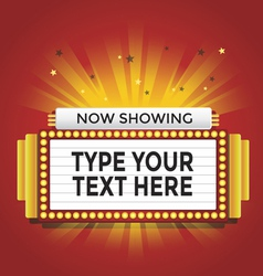 Now showing retro cinema neon sign vector image