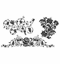 set of design floral elements vector image