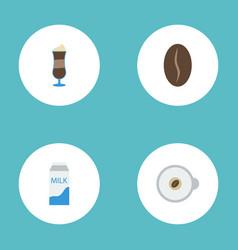 flat icons cappuccino arabica bean mocha and vector image