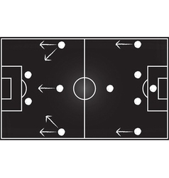 Football field with 4-4-2 formation vector image vector image