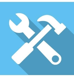 Hammer And Wrench Flat Square Icon with Long vector image