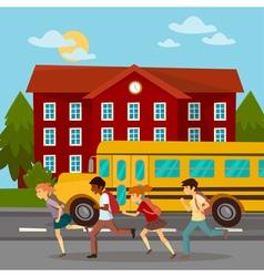 School Building Scholars Running to School vector image vector image