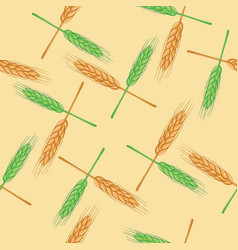 seamless pattern with wheat organic vector image