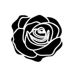 black silhouette with rose flower vector image