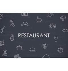 Restaurant Thin Line Icons vector image