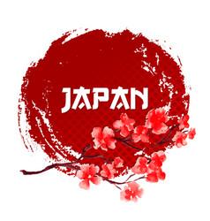 sakura on red sun background japan sign template vector image