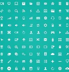 100 computer icons vector image