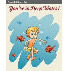 A boy in deep water vector