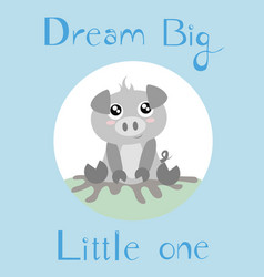A piglet with a baby blue background vector