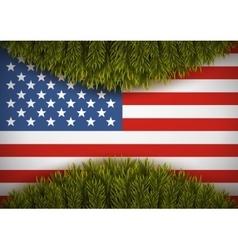 American flag and christmas tree Greeting card vector image
