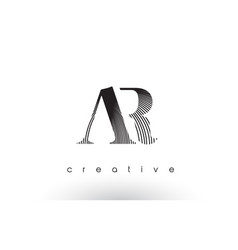 Ar logo design with multiple lines and black vector