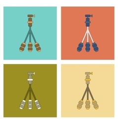 Assembly flat icon technology tripod vector