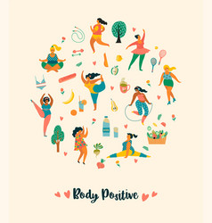 body positive happy plus size girls and active vector image