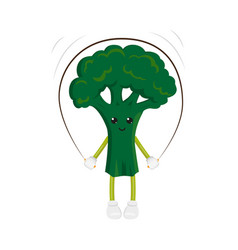 broccoli character jumping rope exercise vector image
