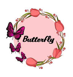 Butterfly tulip ring circle white background vector