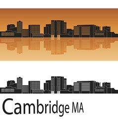 Cambridge skyline in orange vector