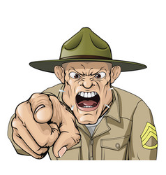 Cartoon angry army drill sergeant shouting vector