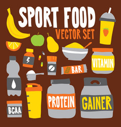 cartoon style sport food nutrition objects vector image