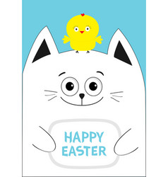 Cat holding happy easter text chicken bird on the vector