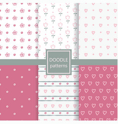 childish doodle seamless patterns set vector image