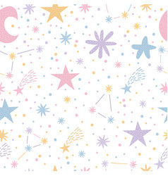 childish seamless pattern with cute moon and vector image