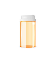 closed and empty pill bottle isolated on the white vector image