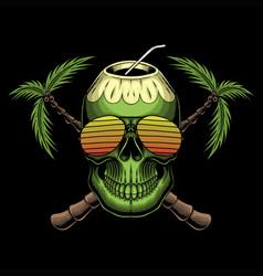 coconut skull retro vector image