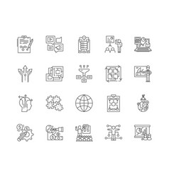 Coordination line icons signs set vector