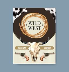 Cowboy poster design with cow skull revolver vector