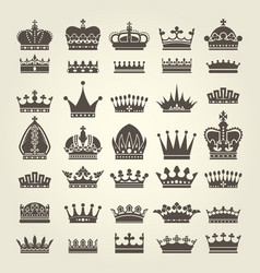Crown icons set - monarchy authority and royal vector