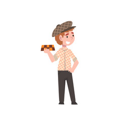 cute boy dressed as taxi driver kids future vector image
