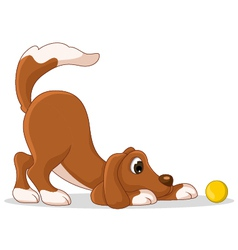 Cute dog cartoon playing yellow ball vector