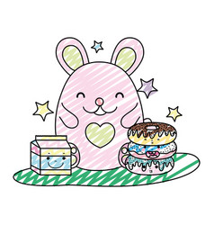 doodle cute mouse with donuts and milk box vector image