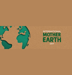 earth day web banner of paper cut world map vector image