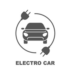 Electro car logo flat digital icon for web and vector