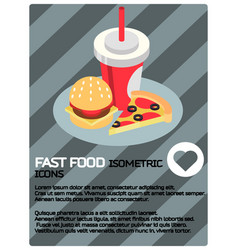 fast food color isometric poster vector image