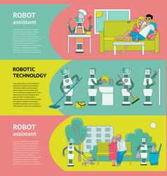 flat fuman robots interaction symbols banner set vector image