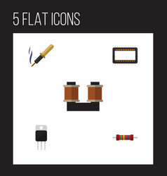flat icon technology set of receiver coil copper vector image
