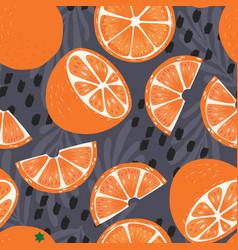 fruit seamless pattern orange halves and slices vector image