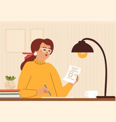 Girl diary woman write journal journalist vector