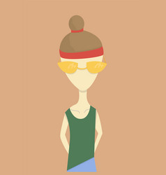 girl with glasses stylized vector image
