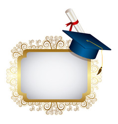 gold metal emblem with graduation hat and diploma vector image