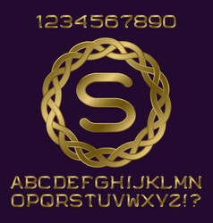 golden letters numbers initial monogram in frame vector image