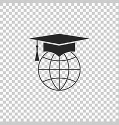 graduation cap on globe icon isolated on vector image